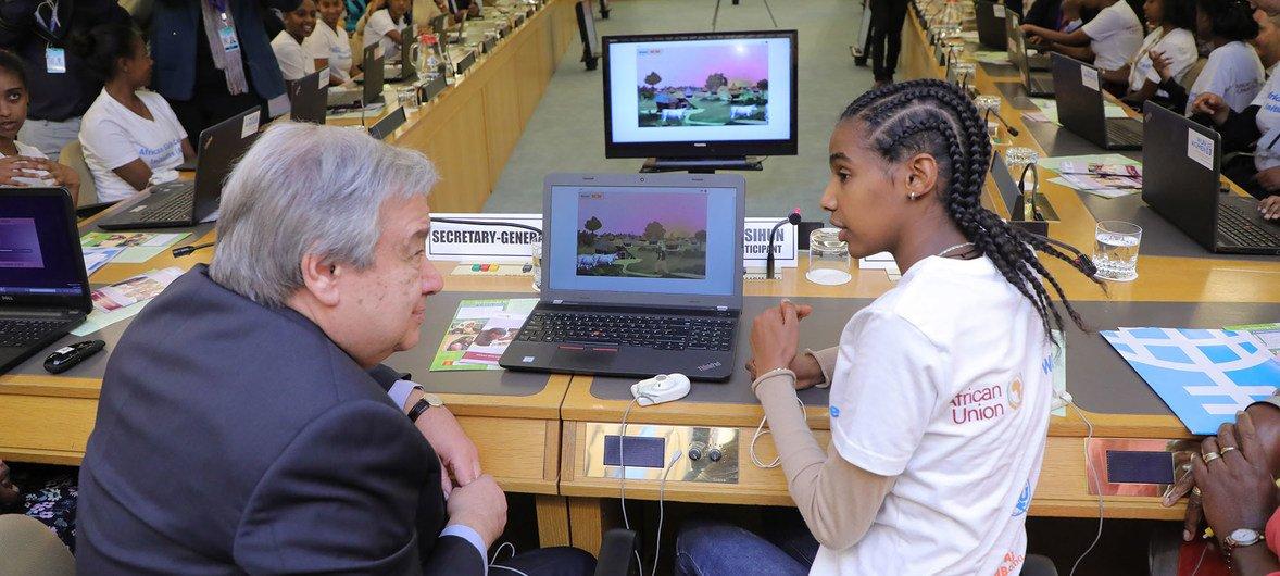 UN Chief Antonio Guterez meets with young female African coders. Courtecy UN.