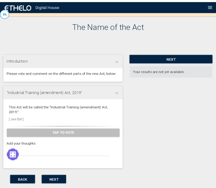 - Step 1.Here you vote and comment on the different parts of the new act.