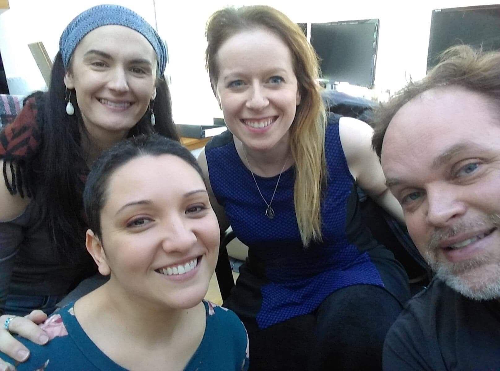 The cast of Rumpelstiltskin in the studio! Aliana de la Guardia (Rumpelstiltskin), Britt Brown (Gretchen), Emily Thorner (Miller), Brian Church (King).