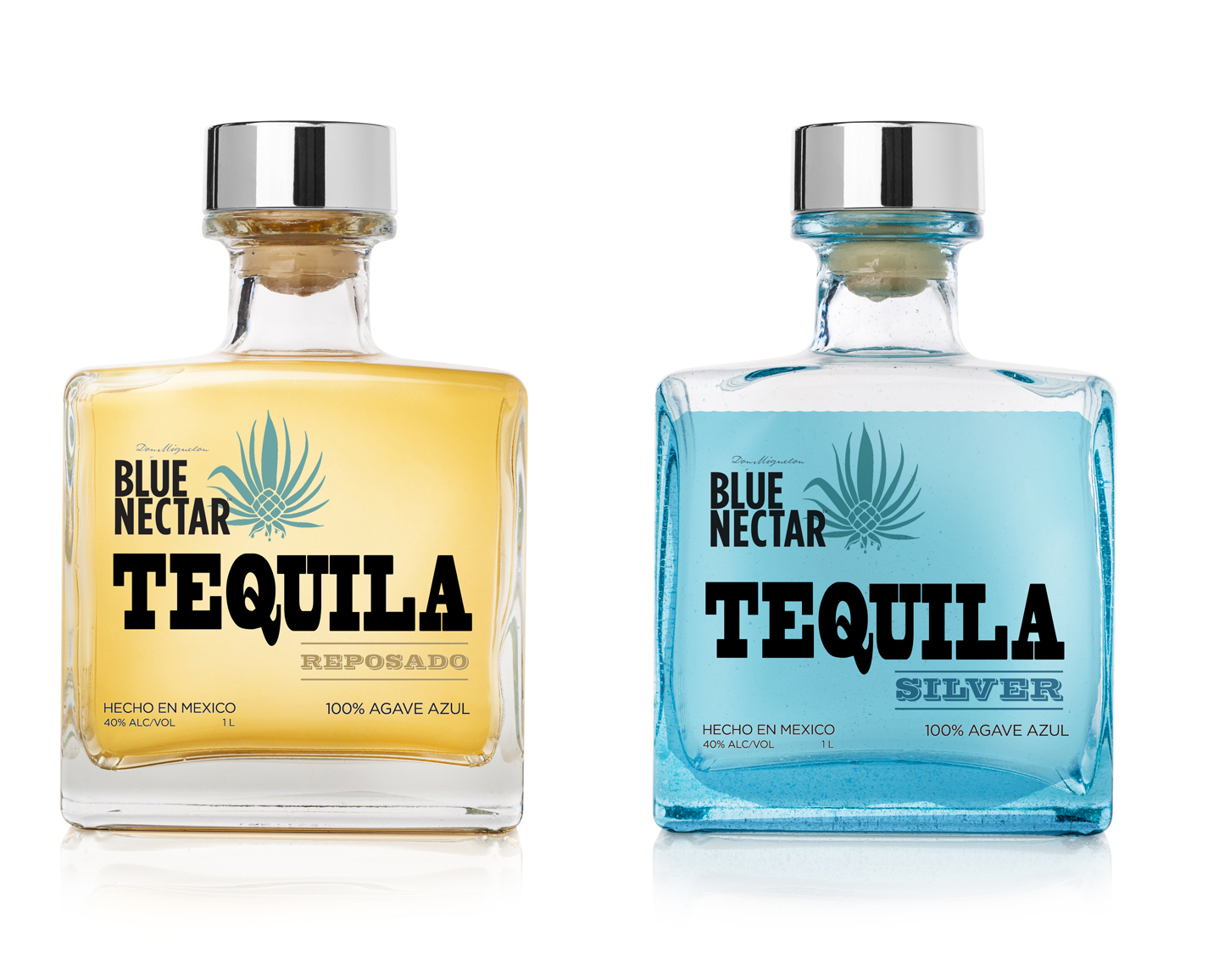 Blue Nectar Tequila - Refresh of a tequila brand that leverages a transparent label to allow the color of the product to show through. The bold serif type and square bottle are intended to evoke a southwestern masculinity.