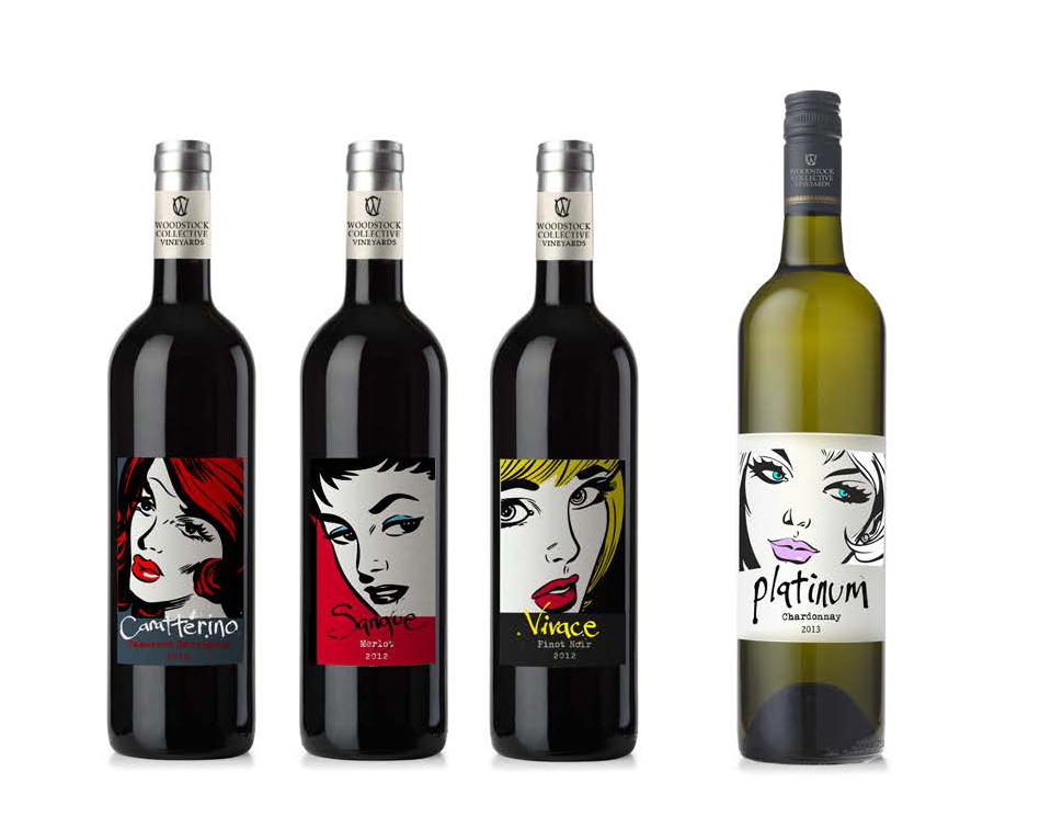 """Woodstock Collective Vinyards - A concept centered around a playful interpretation of each wine's character, in this case literally becoming its own """"character"""" in a pop-comic book style."""