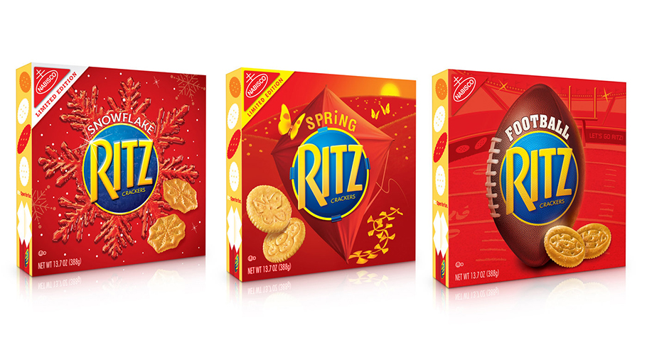 Ritz Crackers Seasonal  - The challenge was to evoke each season or theme while staying with the brand color of red. This was accomplished with large scale central graphics that set the tone by framing the brand logo.