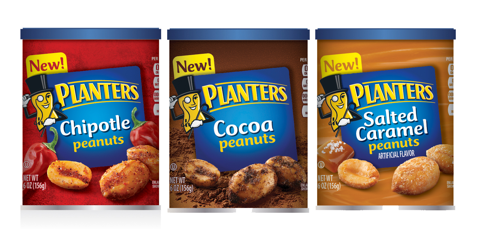 Planters Peanut Flavors  - The flavor cues were created through the use of textured background and photo real elements shown with heavily seasoned product photography.