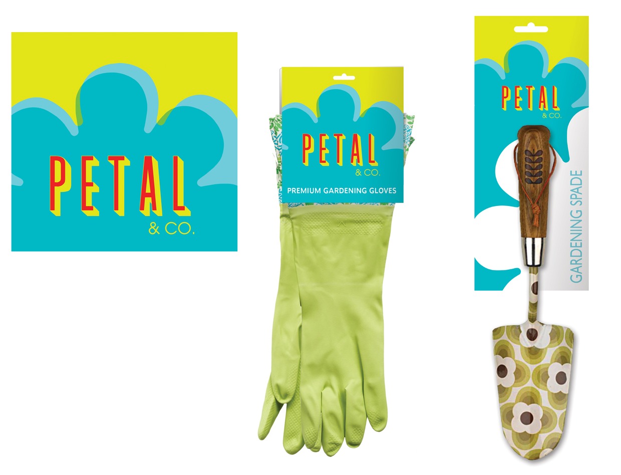 Petal & Co - Branding and Packaging Design  The task was to create a private label for a line of colorful gardening supplies and whimsical outdoor decorations.