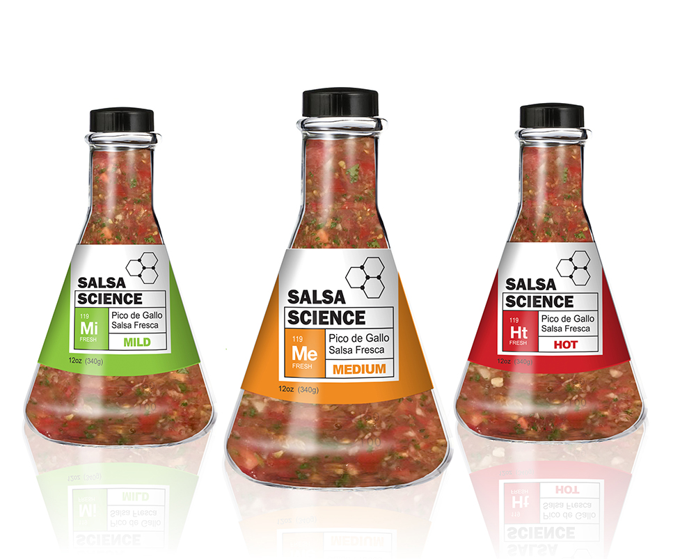 """Salsa Science  - This concept for a line of salsa leverages a unique beaker-shaped bottle and color-coded label system to evoke a special """"secret formula"""" feel. The spice level abbreviations are meant to resemble listings of elements on the periodic table."""