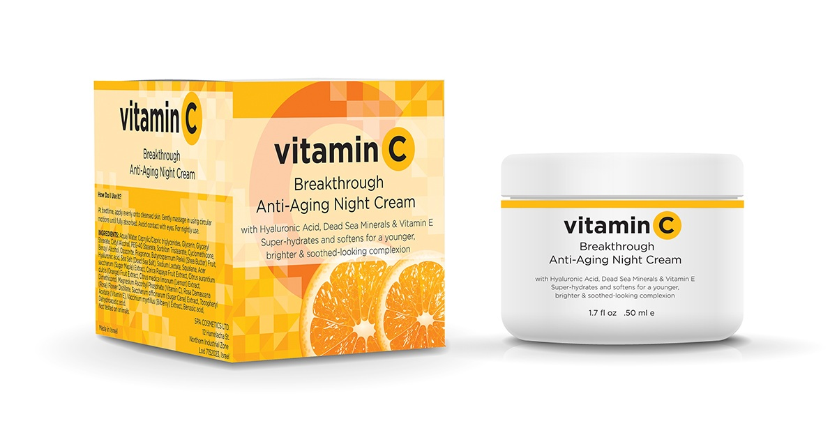 Vitamin C Night Cream  - This line of product is all about ingredient cue. Spot gloss on the pixel-like squares serve to lead the eye and frame the carton's descriptor.