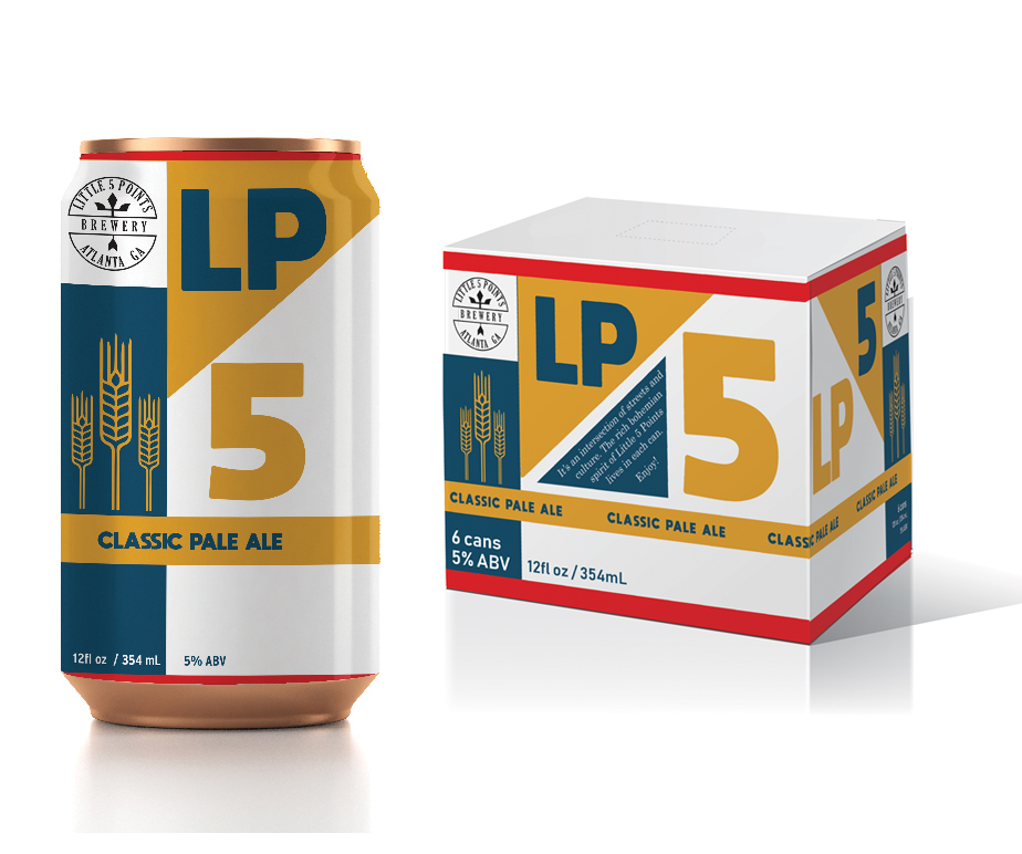 Little 5 Points Classic Pale Ale - Primary and secondary packaging concept for a brewery based in the Little Five Points neighborhood of Atlanta. The angled lines of the color blocking are inspired by an aerial map view of the streets that converge to give the neighborhood its name.