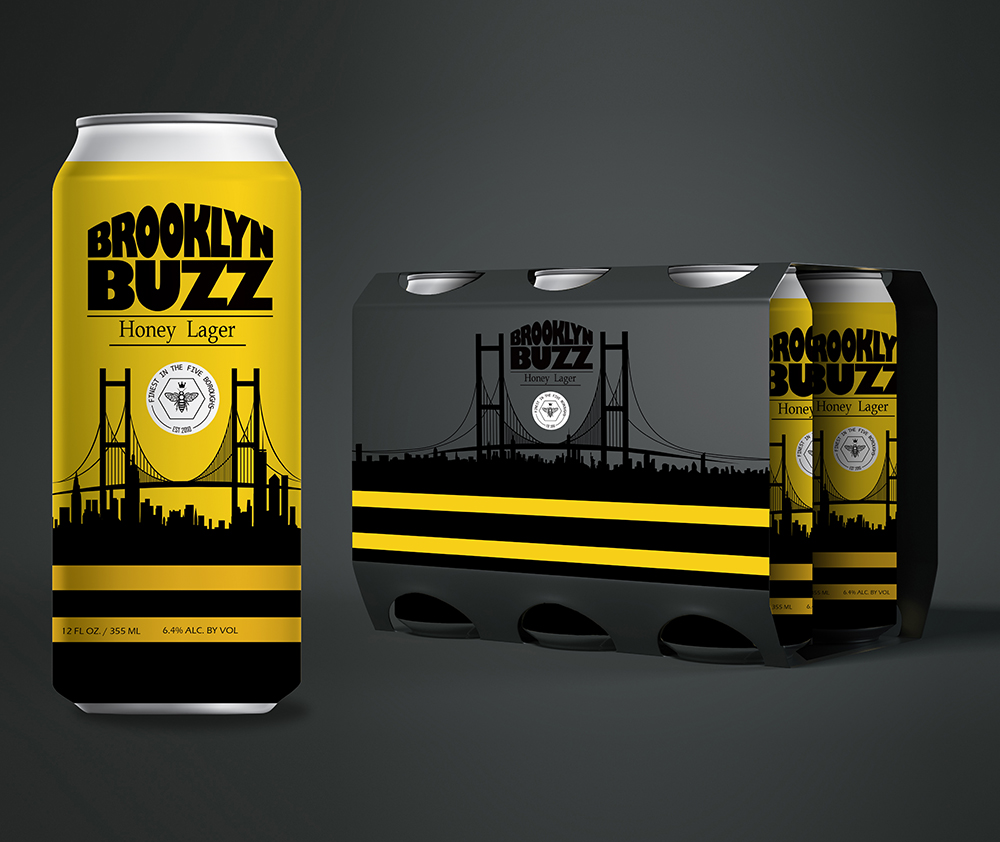 """Brooklyn Buzz Honey Lager - Primary and secondary packaging concept for a honey lager. The bold black and yellow """"bumble bee"""" striped color strategy; together with the name, hint at the product's flavor. Gloss black on matte with accents of yellow on the carton give impact."""
