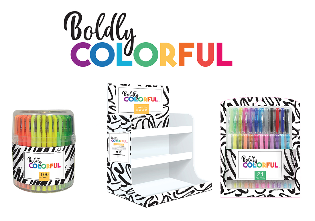 Boldly Colorful  - A label developed for a line of school / office supplies that feature multi-packs in bright colors. As the product itself was going to be colorful, the strategy was to get impact by contrasting the stark black and white (bold) with the multi-colored packaged items (colorful.)