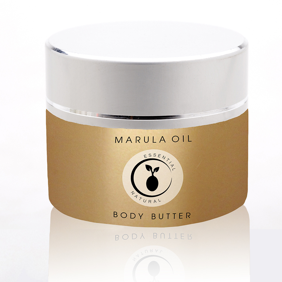 Marula Oil Body Butter  - A pearlescent substrate and minimalist type surround a central messaged medallion.