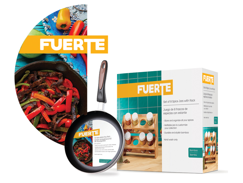 Fuerte  - This is a line of cookware for the Spanish speaking market I was tasked with developing. The design is bi-lingual, and is built around a bisected composition with strong photographic background or product image over the left half.