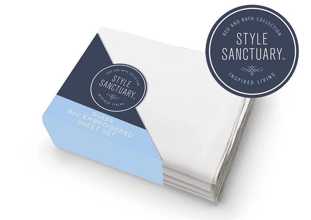Style Sanctuary Sheets  - This is for a retailer's private label for sheets and other soft goods. The corner cradle box is something I had not seen in my research for sheets and stands out boldly on the shelf. I used the brand colors from the logo in creating clean lines that contrast the diagonal of the structure.