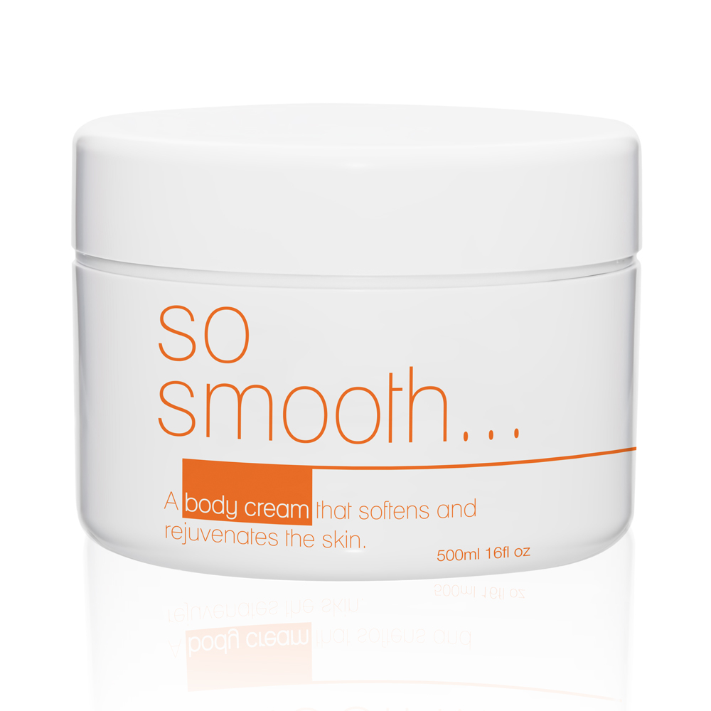 So Smooth Body Firming Cream  - The messaging is the focus of this design. A clean clinical look was the goal.