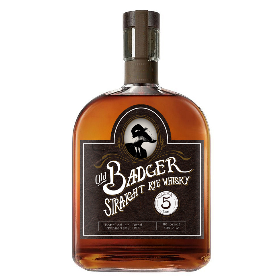 Old Badger Whisky- Concept for whisky label combining old-fashioned hand-drawn text with whimsical and more modern elements.