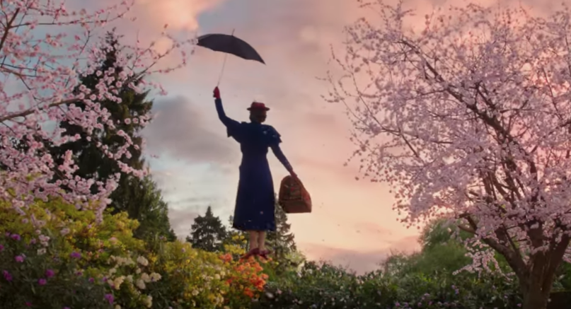 Emily Blunt as Mary Poppins soaring off into the late afternoon sky.