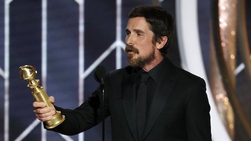 Christian Bale accepting his second ever Golden Globe.