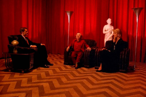 The Black Lodge; a possible reference to the blank screen that locks television characters.