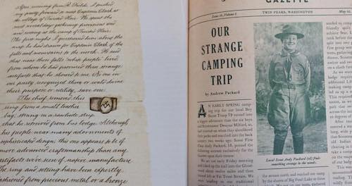 An example of the fictional artifacts found in the book: a letter and a newspaper article.