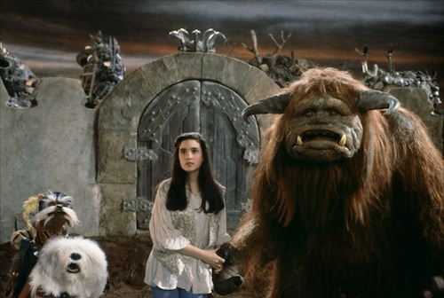 Sarah entering Jareth's kingdom, with some new (and old) friends.