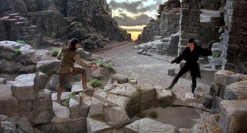 Dread Pirate Roberts having a sword fight with Inigo Montoya.