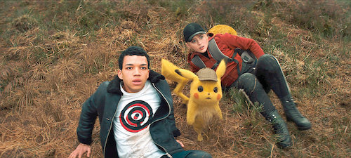Tim, Pikachu, and Lucy having a shocking revelation about the world around them.