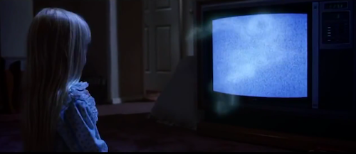 The connection to the television serves as an appropriate metaphor of an object that can invade the personal connection between family members.