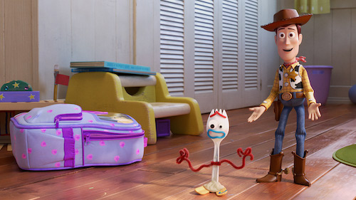 Woody trying to integrate Forky into the friend group.