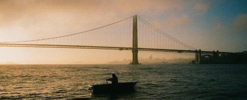 A sensational shot of Fails rowing across San Francisco Bay.