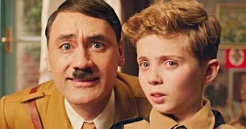 Jojo converses with his buffoonish imaginary depiction of Adolf Hitler, who replaces his missing father figure.