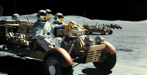 A team traversing across the Moon.