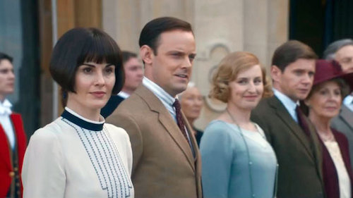 The  Downton Abbey  characters awaiting the King and Queen, just like the show's fans waited for this very film.