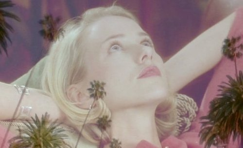 This transitional shot is a complete contrast of the earlier, nightmarish look at Hollywood and the palm trees. Here, Betty is bordered by her acting dreams, and the sky is the limit.