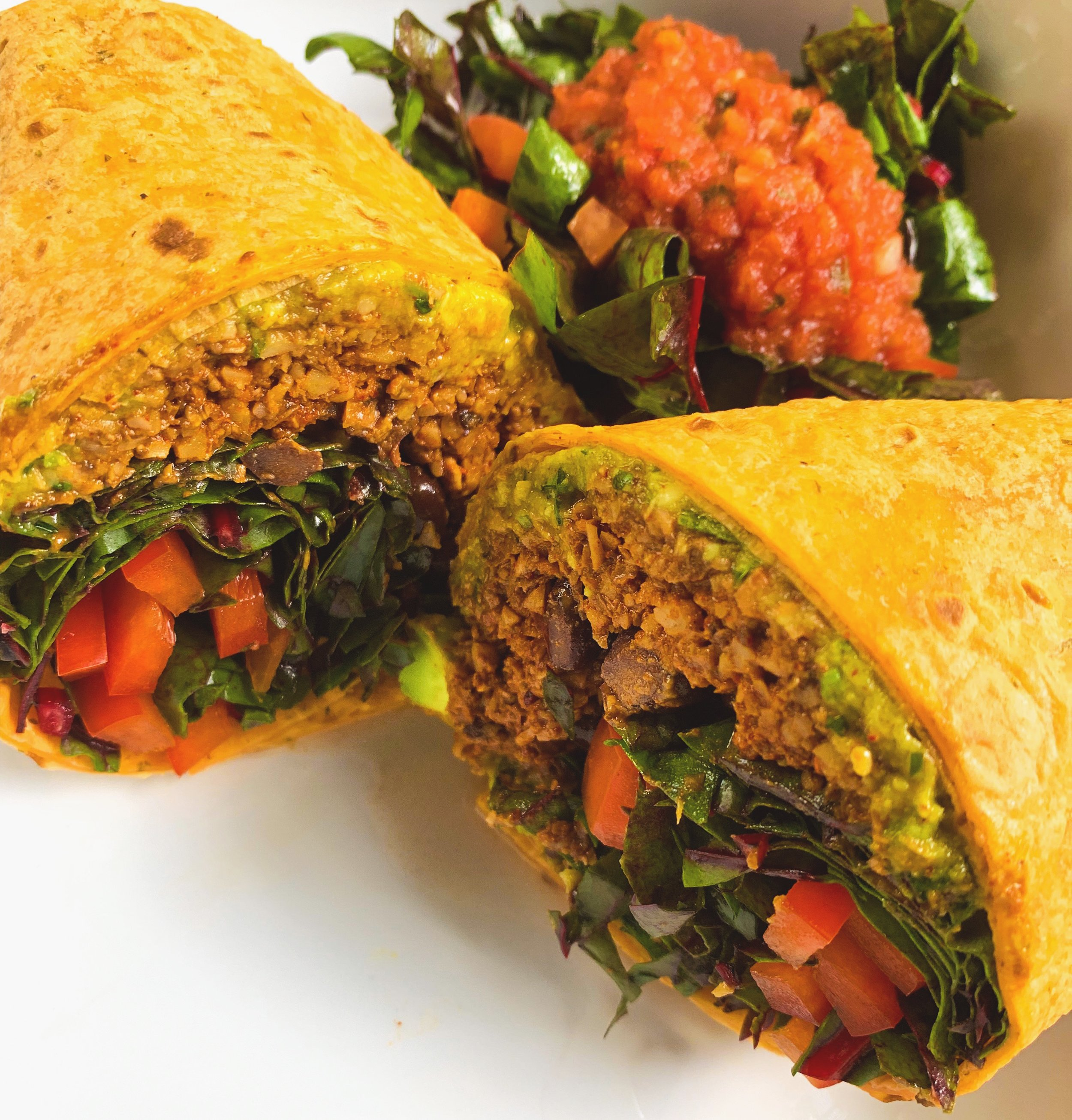 "Raw Burrito   (""meat"" is made with walnuts & bella mushrooms)"