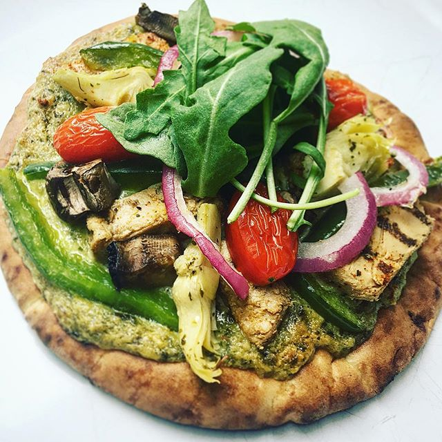 Grilled ChikN' & Veggie Pesto Pizza