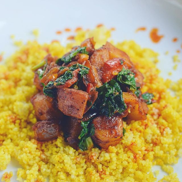 Braised Sweet Potatoes & Kale over Tumeric-Infused Couscous