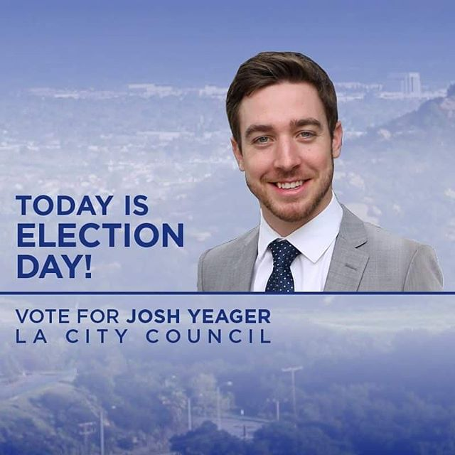 🚨🚨 TODAY is #ElectionDay 🚨🚨 ‼️#VOTE for Josh Yeager for LA City Council‼️ We need a truly #independent voice that will listen to us, the community.  I have heard loud and clear from the voters. As your Councilmember, I will focus on the priorities voters told me to pursue: ✅ I will work to reduce homelessness in the district. ✅ I will make sure the concerns of our community are addressed, ensuring city services are effective and efficient. ✅ I will hire more police officers and work closely with LAPD to make sure we reduce crime in the North Valley.