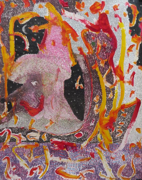 O.T. ( Arabischer Weiser - Penis - Lesende ), 2017  Buntstift auf Papier, 130x105cm