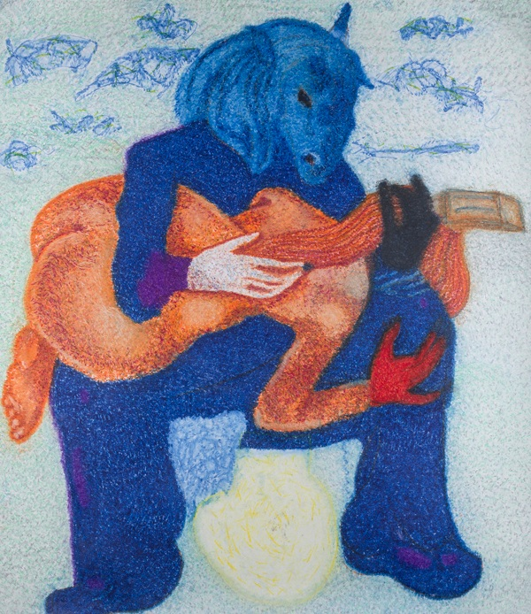 O.T., 2015  Buntstift auf Papier, 98x129cm