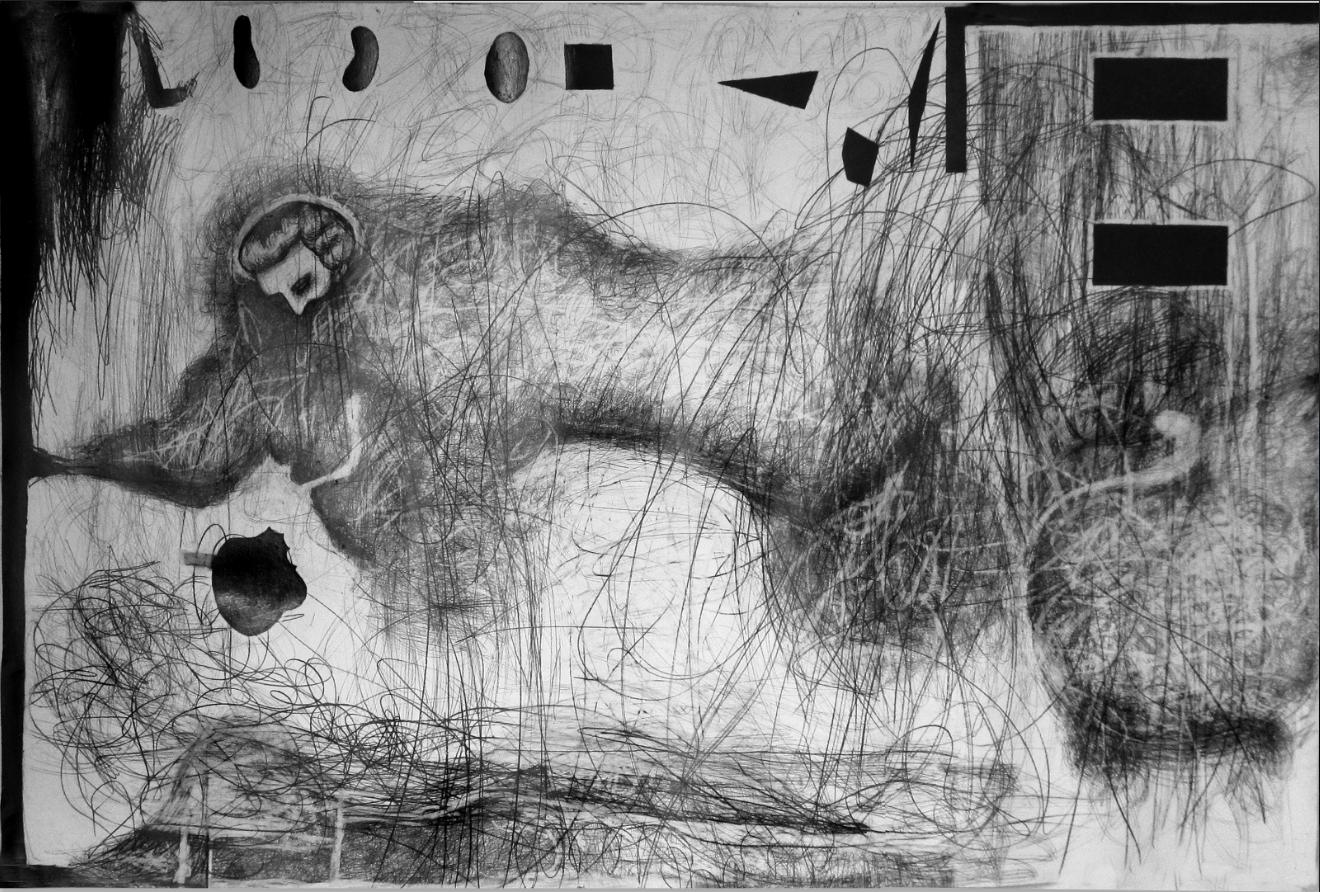 grieche_2 , 2013  Bleistift auf Papier, 200x260cm