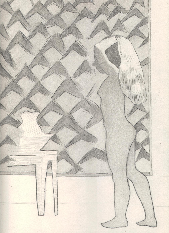 O.T. ( Serie Balthus ), 2018  Bleistift auf Papier, 26x35.5cm