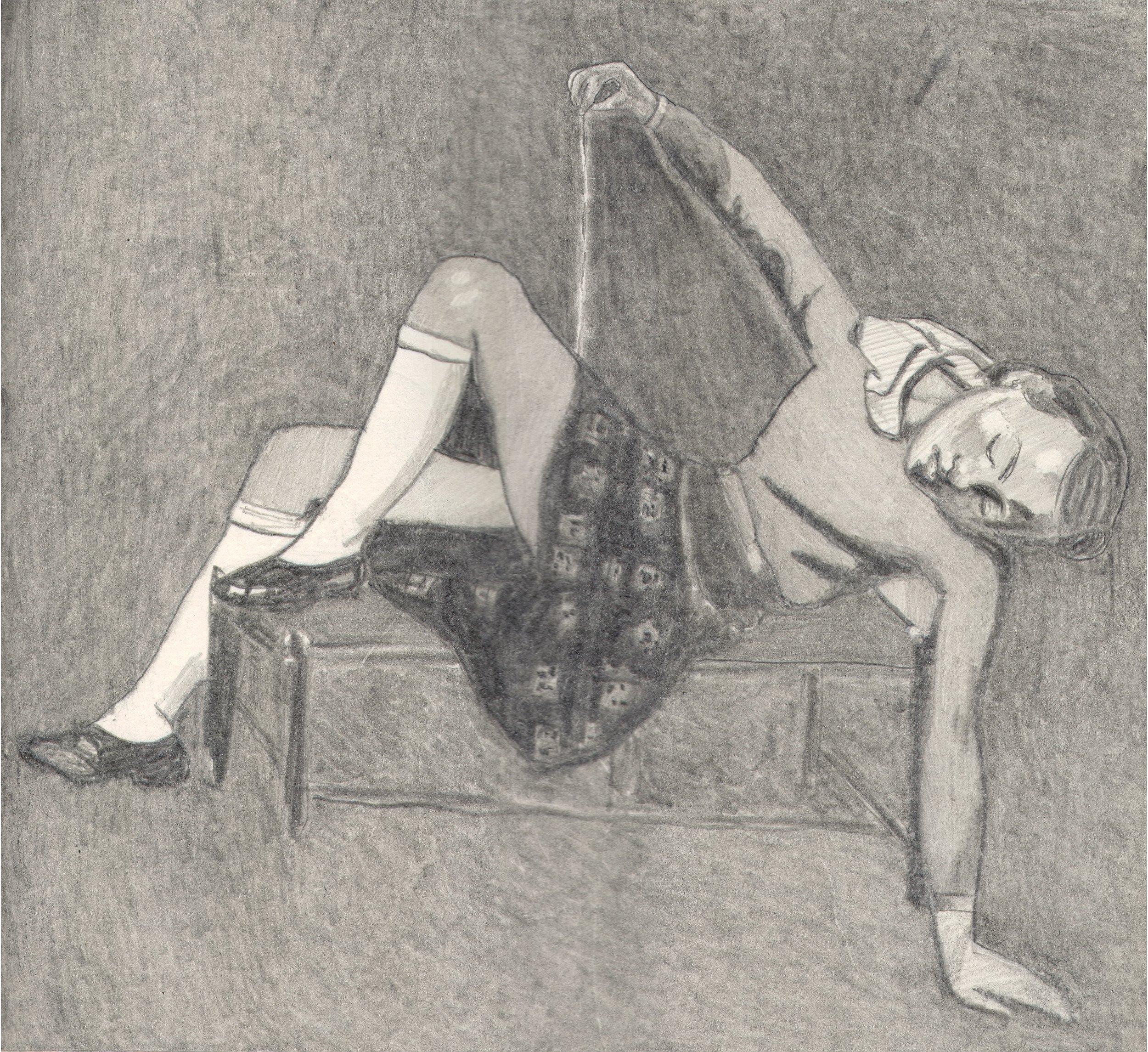 O.T. ( Serie Balthus 8 ), 2018  Bleistift auf Papier, 26x35.5cm
