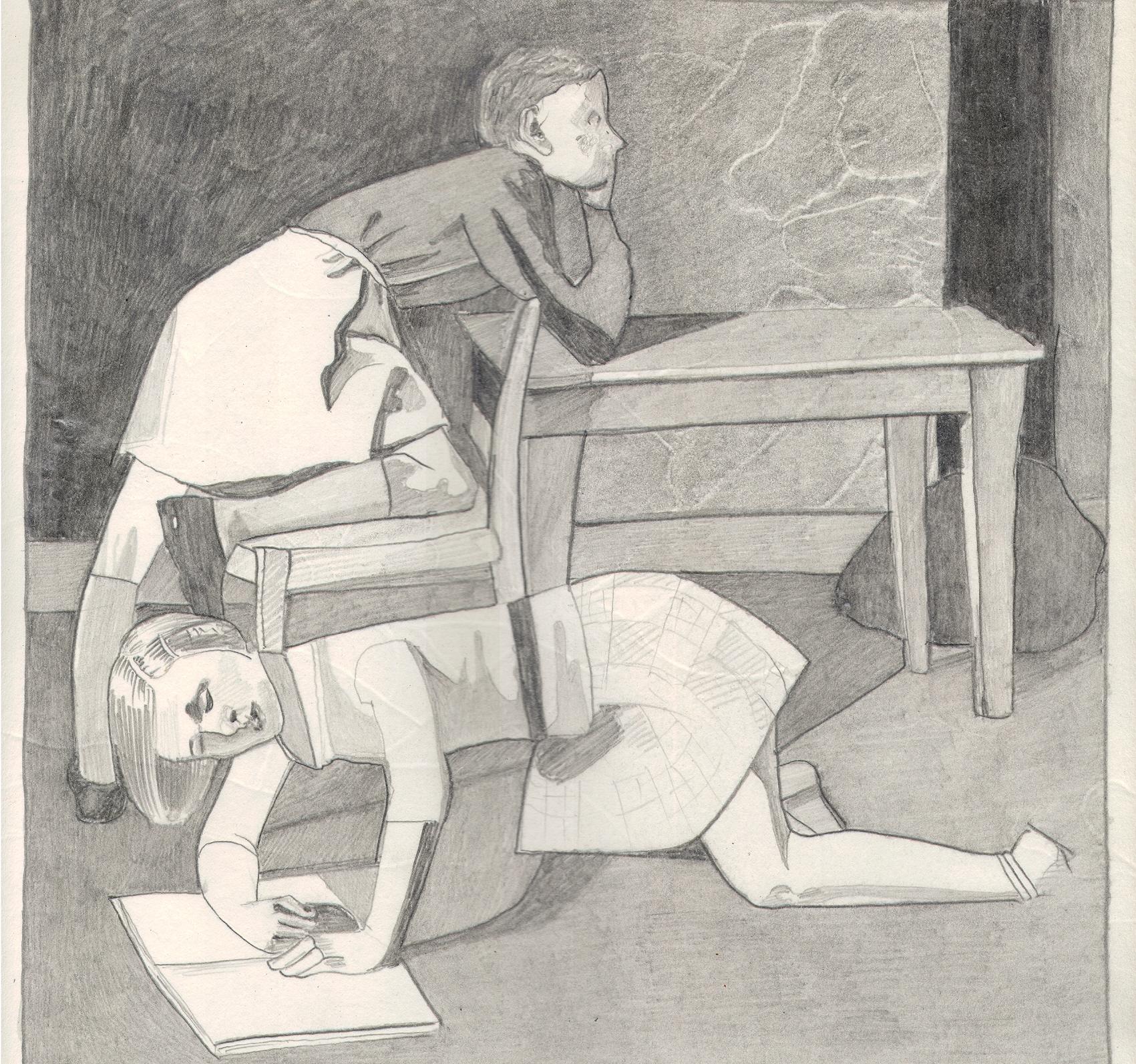 O.T. ( Serie Balthus 10 ), 2018  Bleistift auf Papier, 26x35.5cm