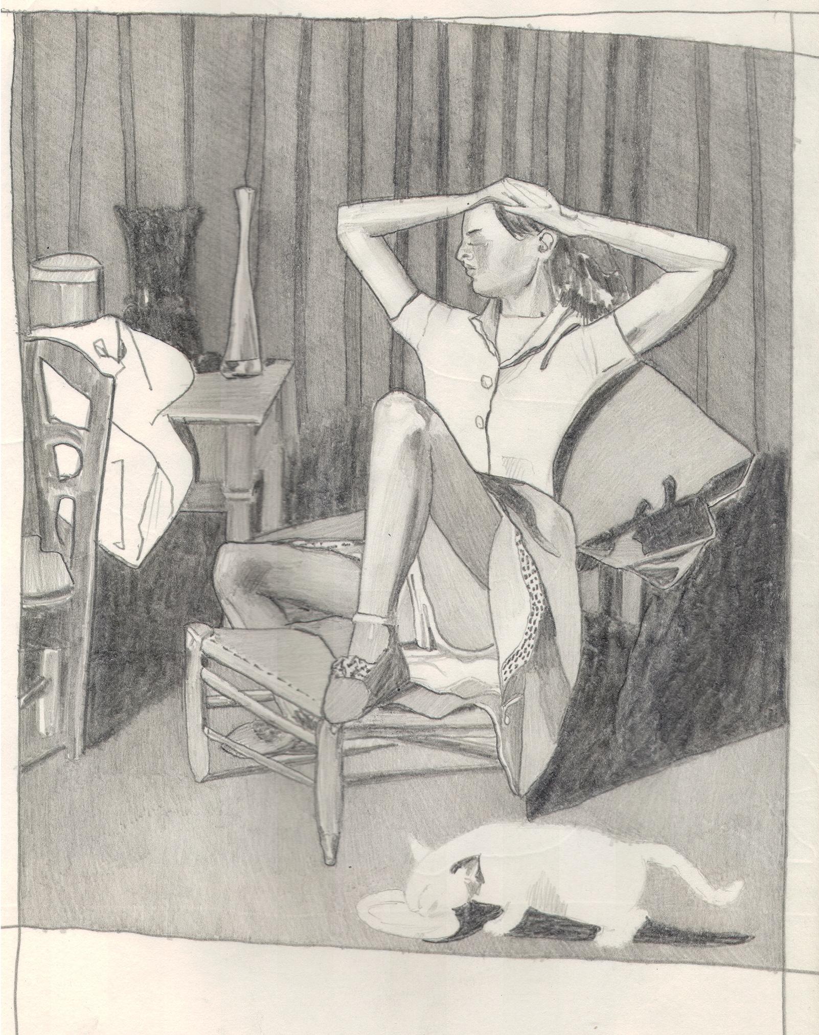 O.T. ( Serie Balthus 7 ), 2018  Bleistift auf Papier, 26x35.5cm