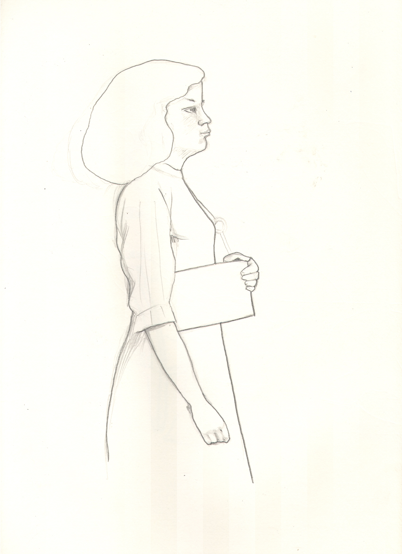 O.T. ( Serie Balthus 4 ), 2018  Bleistift auf Papier, 26x35.5cm