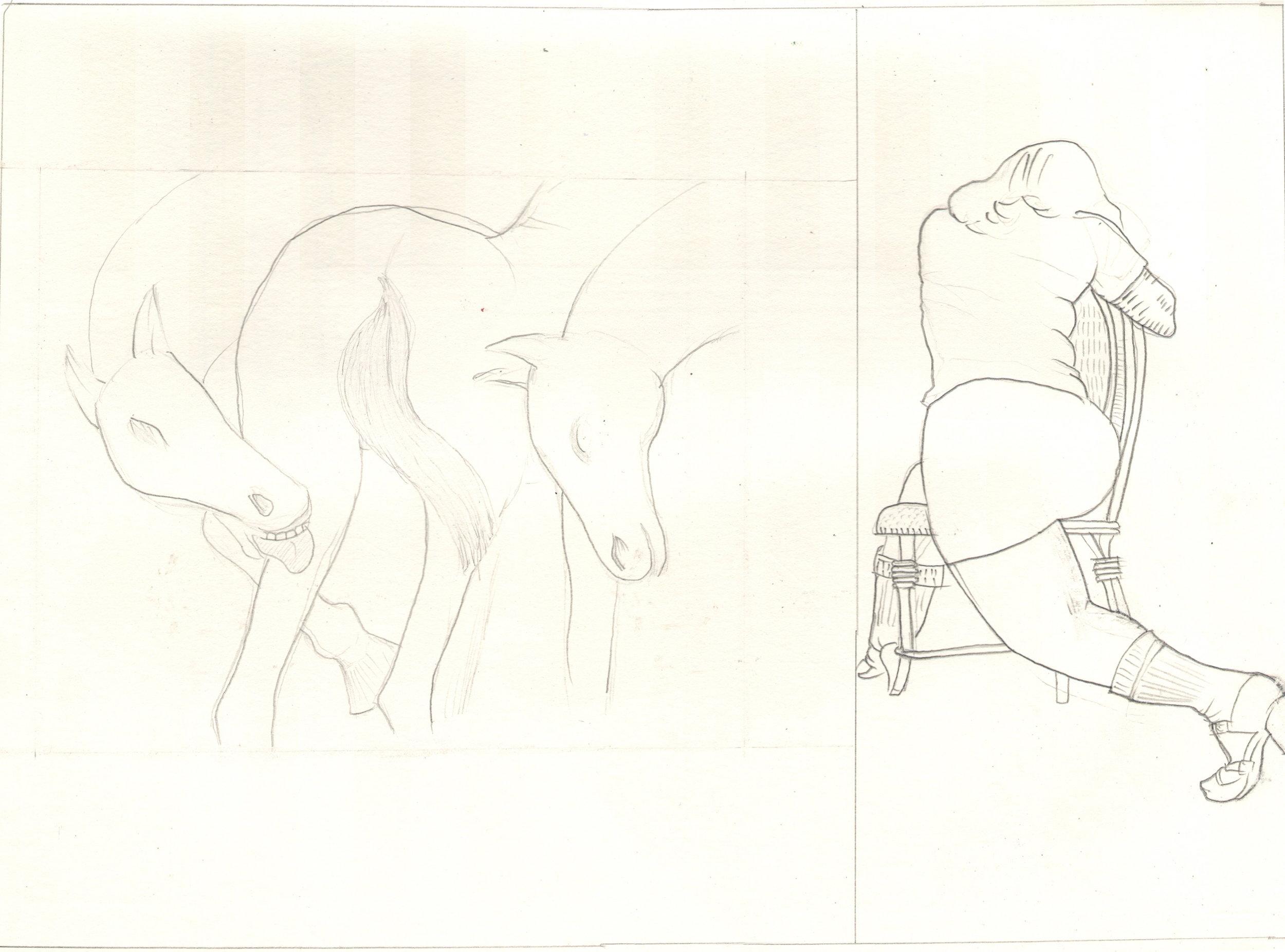 O.T. ( Serie Das Duell III Pierre Klossowsi & Robert Crumb ), 2018  Bleistift auf Papier, 26x35.5cm