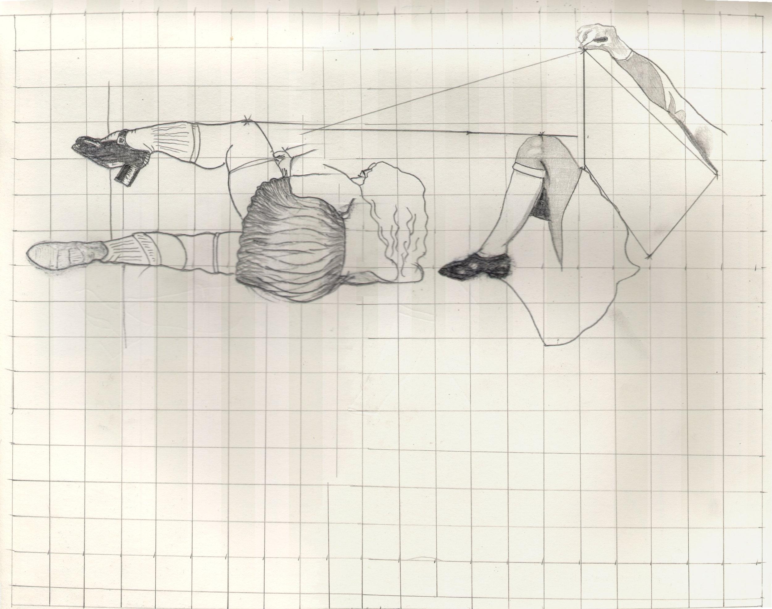 O.T. ( Serie Das Duell VI Balthus & Crumb ), 2018  Bleistift auf Papier, 26x35.5cm