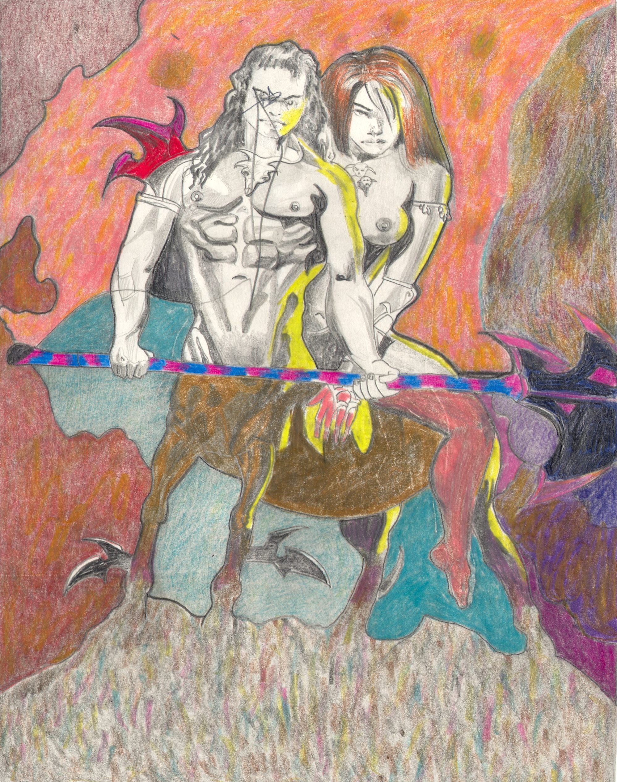 O.T. ( Serie Fantasy II Boris Vallejo Paraphrase ), 2018     Bleistift Buntstift auf Papier, 26x35.5cm