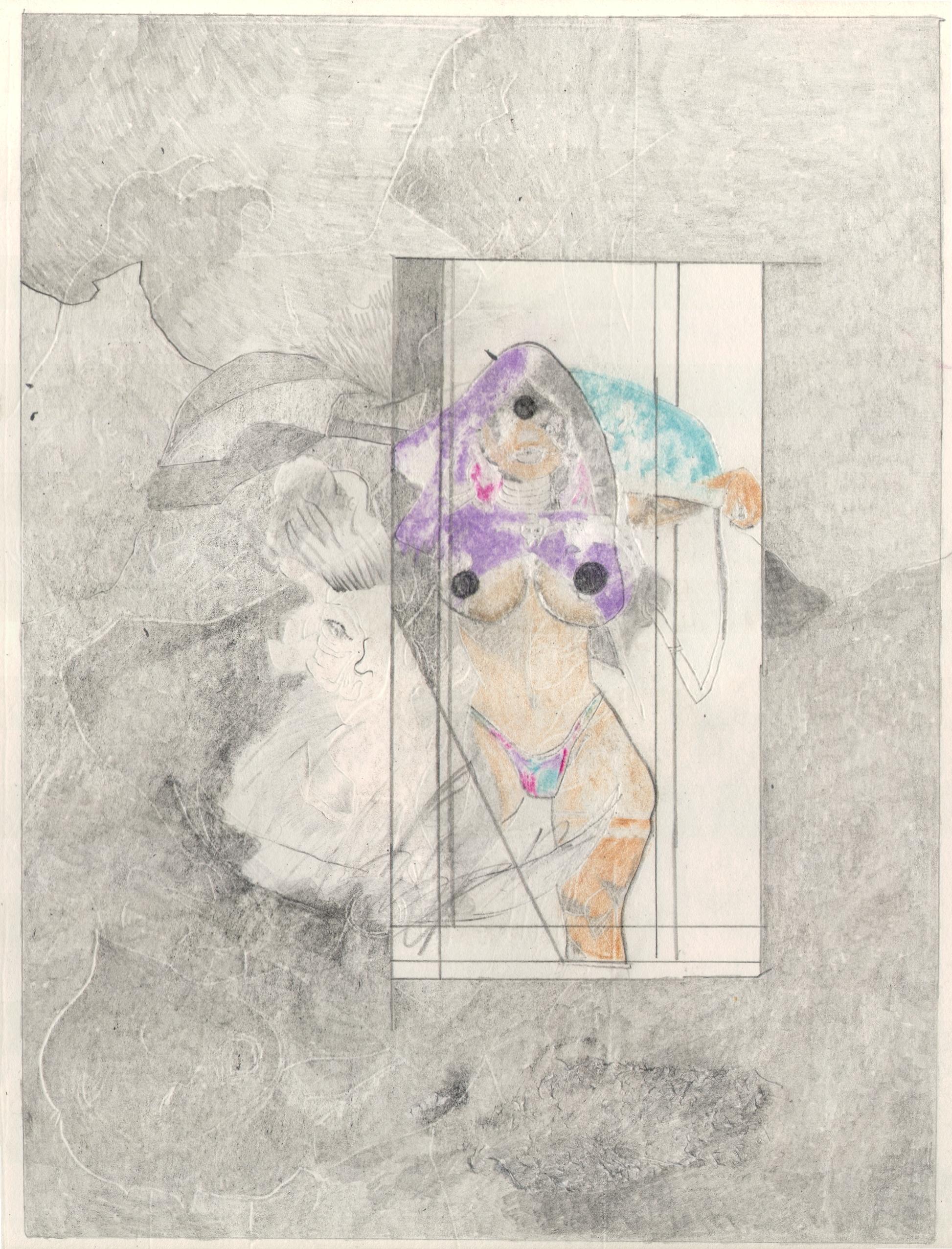 O.T. ( Serie Fantasy V ), 2018  Bleistift Buntstift auf Papier, 26x35.5cm