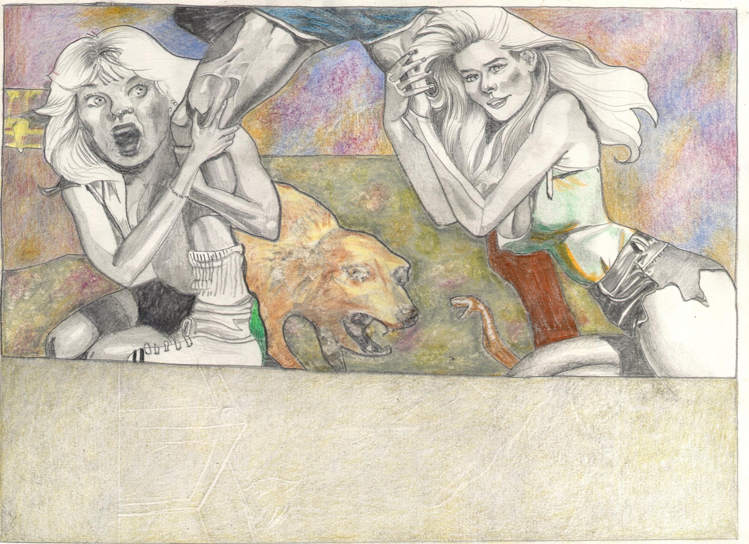 O.T. ( Serie Fantasy VI Boris Vallejo Paraphrase ), 2018  Bleistift Buntstift auf Papier, 26x35.5cm