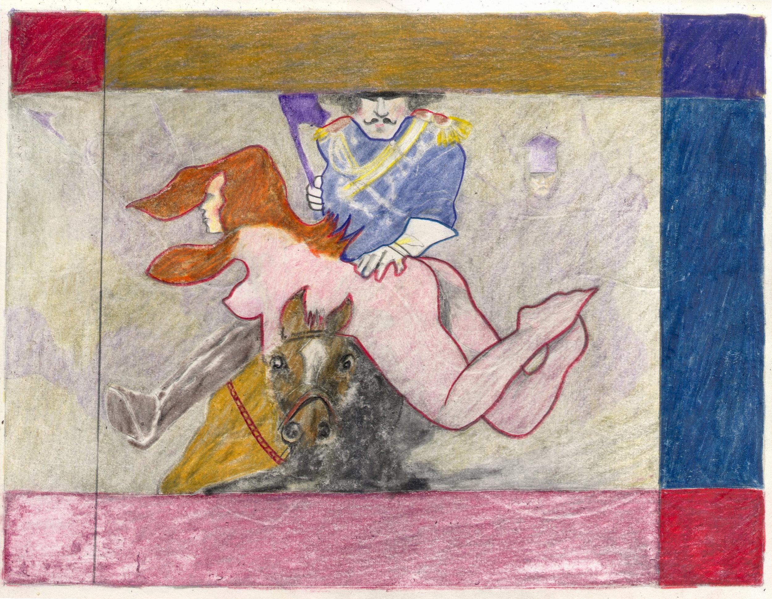 O.T. ( Serie Fantasy XII Boris Vallejo Paraphrase sw ), 2018  Bleistift Buntstift auf Papier, 26x35.5cm